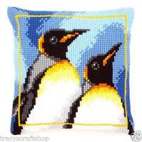 Penguins Chunky Cross Stitch Cushion Front Kit 40x40cm