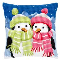 Scarved Penguins Chunky Cross Stitch Cushion Front Kit 40x40cm