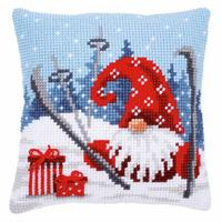 Crashed Skiing Gnome ~ Chunky Cross Stitch Cushion Front Kit