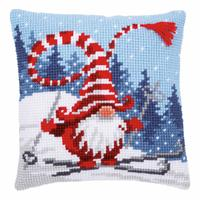 Skiing Gnome ~ Chunky Cross Stitch Cushion Front Kit