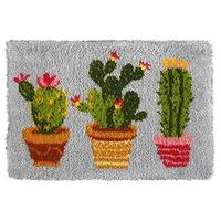 Cactus Latch Hook Rug Making Kit. Orchidea, 50x74cm Pr