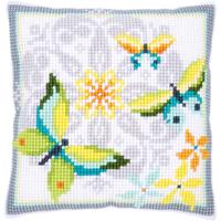 Butterflies & Flowers- Chunky Cross Stitch Cushion Front Kit 40x