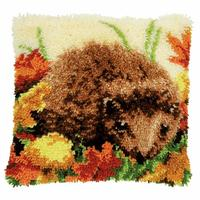 Autumnal Hedgehog Latch Hook Cushion Front Kit 40x40cm