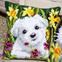 Westie In Daffodils Chunky Cross Stitch Cushion Front Kit