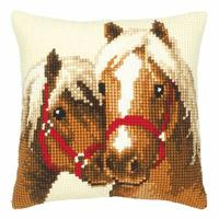 Horses Chunky Printed Cross Stitch Cushion Front Kit 40x40cm
