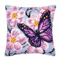Purple Butterfly Chunky Cross Stitch Cushion Front Kit 40x40cm