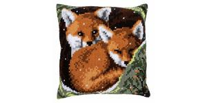 Foxes Chunky Cross Stitch Cushion Front Kit by Vervaco